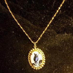 Jewelry - Vintage Blue Delft pendant necklace